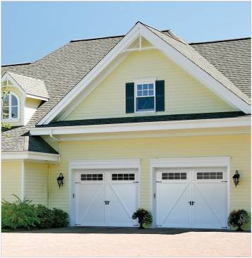 Eastman garage door, Model E-22, 10' x 7', Ice White door and overlays, Orion 8 lite windows